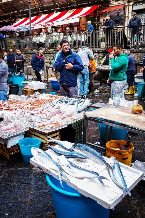Catania, typical of the Sicilian fish market, Italy royalty free stock photo
