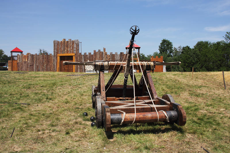 Catapult. Wooden catapult that was used during the Middle Ages royalty free stock image