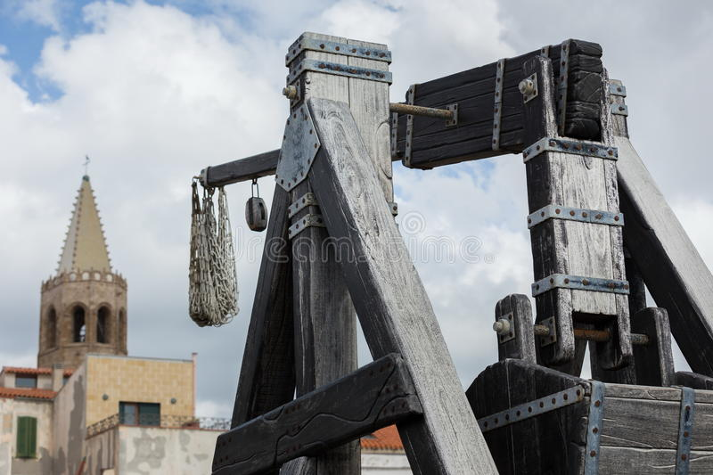 Catapult. A medioeval weapon now dismissed royalty free stock images