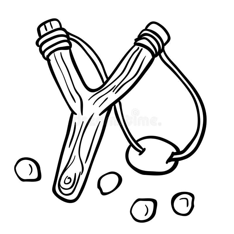 Catapulta blanco y negro simple libre illustration