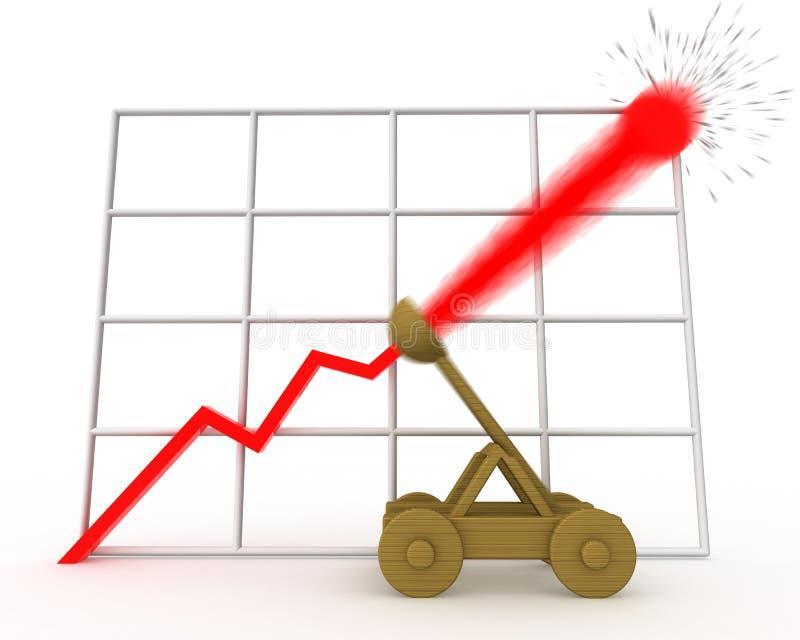 Catapulta, concepto del crecimiento rápido ilustración del vector