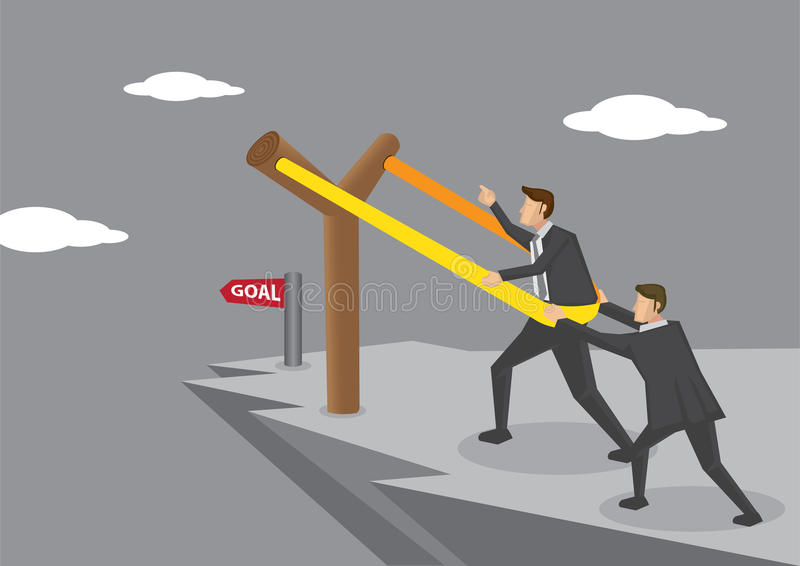 Catapulta de la catapulta a la meta de negocio ilustración del vector
