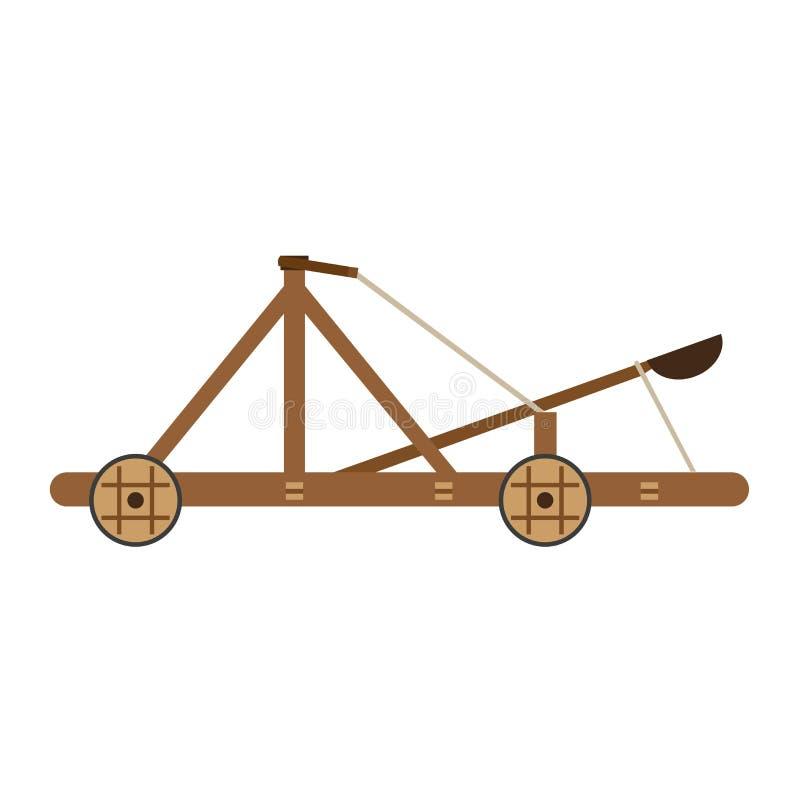 Catapulte la historieta antigua aislada ejemplo medieval del cerco del arma blanca vieja de madera de la guerra del vector stock de ilustración