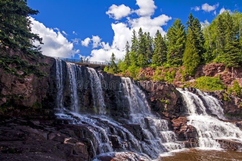 Cataratas de Gooseberry no norte do Minnesota fotografia de stock