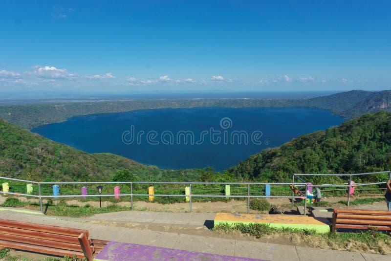 Catarina, Nicarágua, janeiro 14,2018: ponto de vista de Catarina, Nicarágua vista aérea bonita do ponto de vista foto de stock