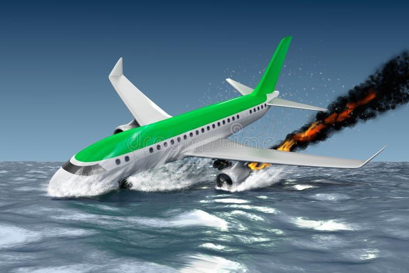 Catastrofe - Neerstorting van Passagiersvliegtuig 3D Illustratie stock illustratie