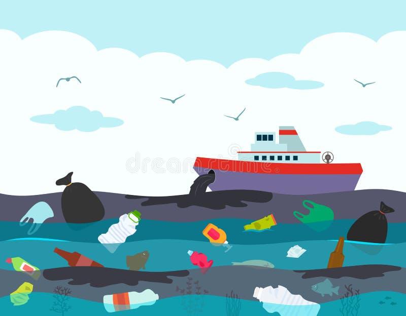 Catastrophe ?cologique dans l'oc?an, fuite d'huile du bateau-citerne de bateau dans la perspective d'un oc?an pollu? avec illustration de vecteur