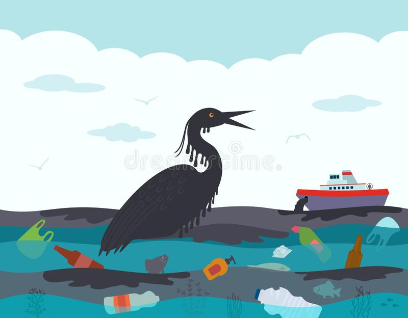 Catastrophe ?cologique dans l'oc?an, fuite d'huile du bateau-citerne L'oiseau de mort, la victime de l'accident sur illustration de vecteur