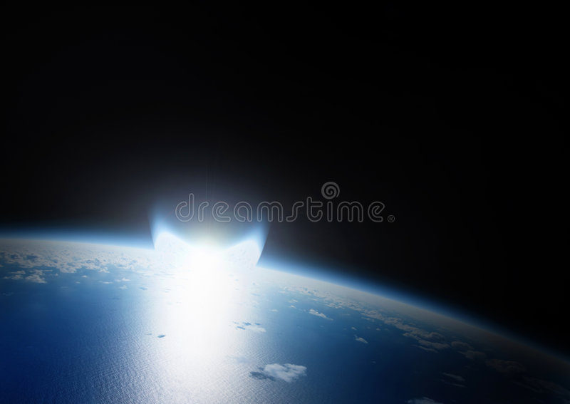 Catastrophe of asteroid impact on earth. Catastrophe by Asteroid impact on Earth that can destroy the planet. Explosion is a bright flare. Dark space in the royalty free stock image