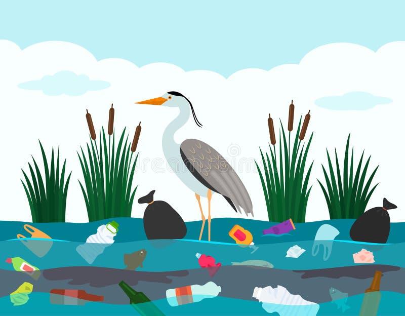 Catastrophe ?cologique des d?chets en plastique en rivi?re Un oiseau de h?ron se tient dans un lac pollu? avec les d?bris et les  illustration de vecteur