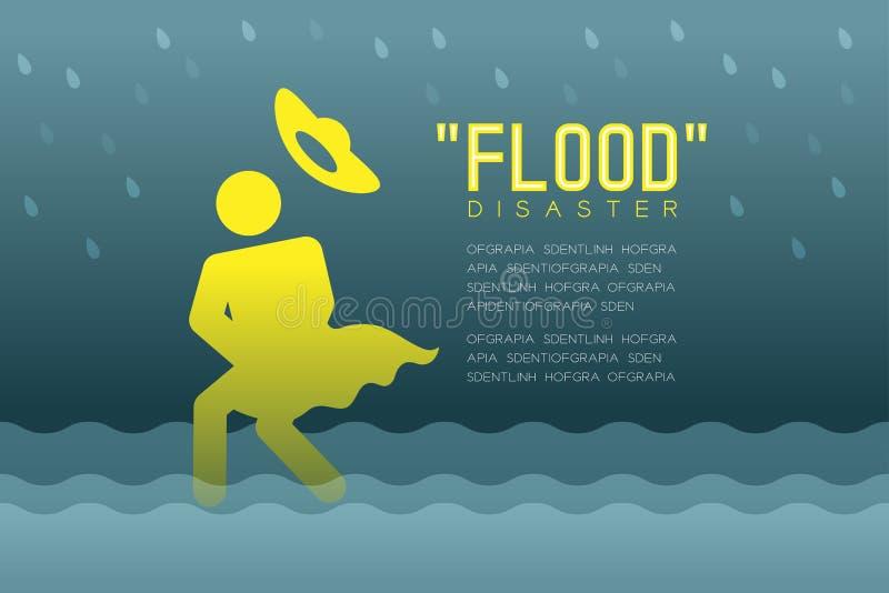 Catastrophe d'inondation de pictogramme d'icônes de femme avec l'illustration infographic de conception souple de chapeau illustration libre de droits