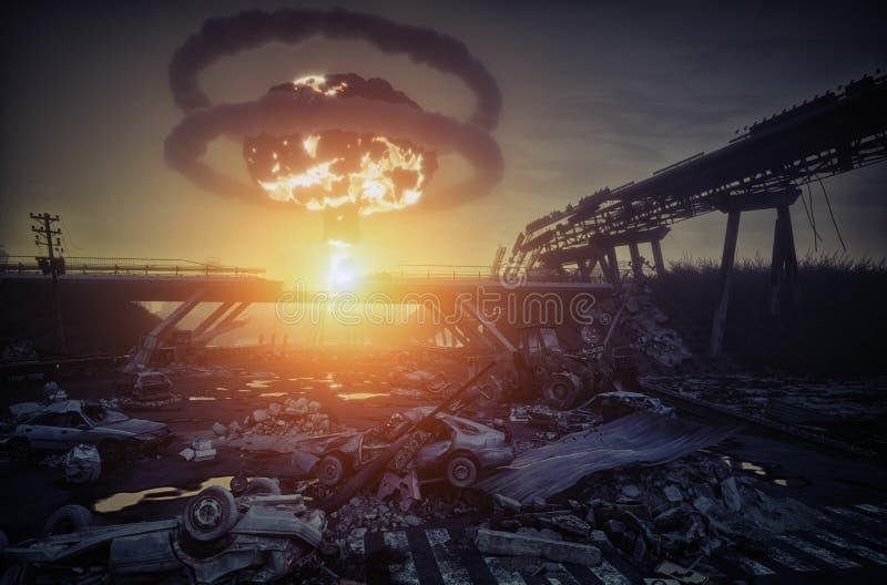 Catastrophe de guerre nucléaire image stock