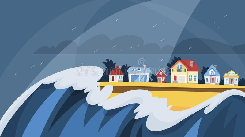 Catastrophe de tsunami Grande couverture de vague le village illustration stock