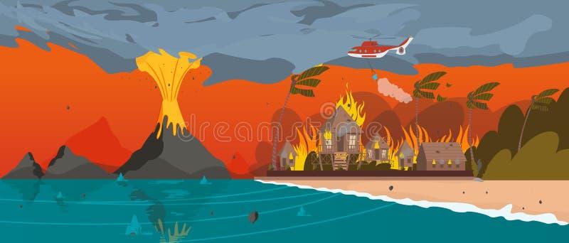 Catastrophe naturelle Éruption de volcan Station de vacances de village illustration libre de droits