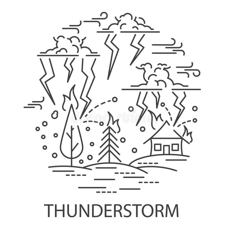 Catastrophe naturelle d'orage illustration de vecteur