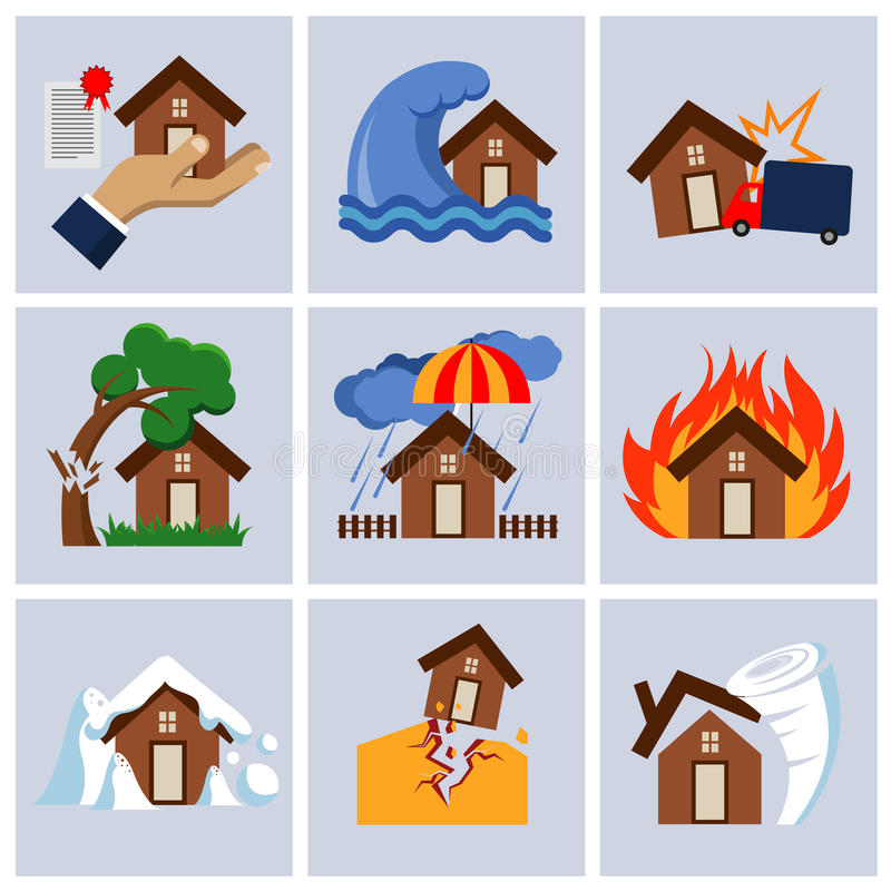 Catastrophe naturelle, icônes de vecteur de service d'activités d'assurance de maison illustration de vecteur