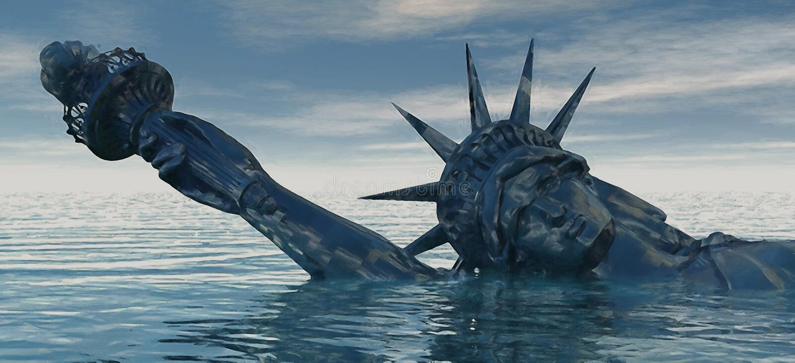 Catastrophic Climate Change. Abstract concept for global warming and climate change. Statue of Liberty representing freedom and liberty drowns in rising water