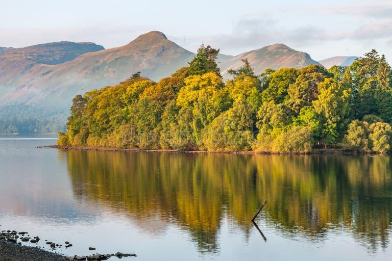Catbells和德文特湖在英国湖区 免版税库存照片