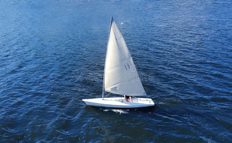 Catboat yacht sailling. Aerial. stock image