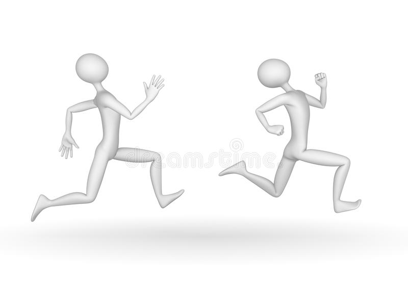 Catch. Two 3d people, one runs away, the other catches stock illustration