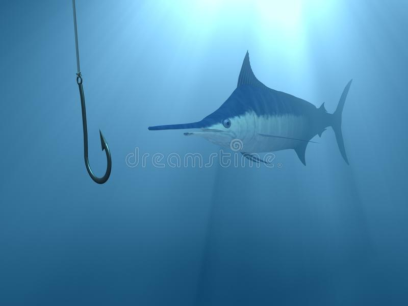 Catch the bait underwater. Sword fish marlin swimming towards the bait underwater blue light coming from the sky royalty free illustration