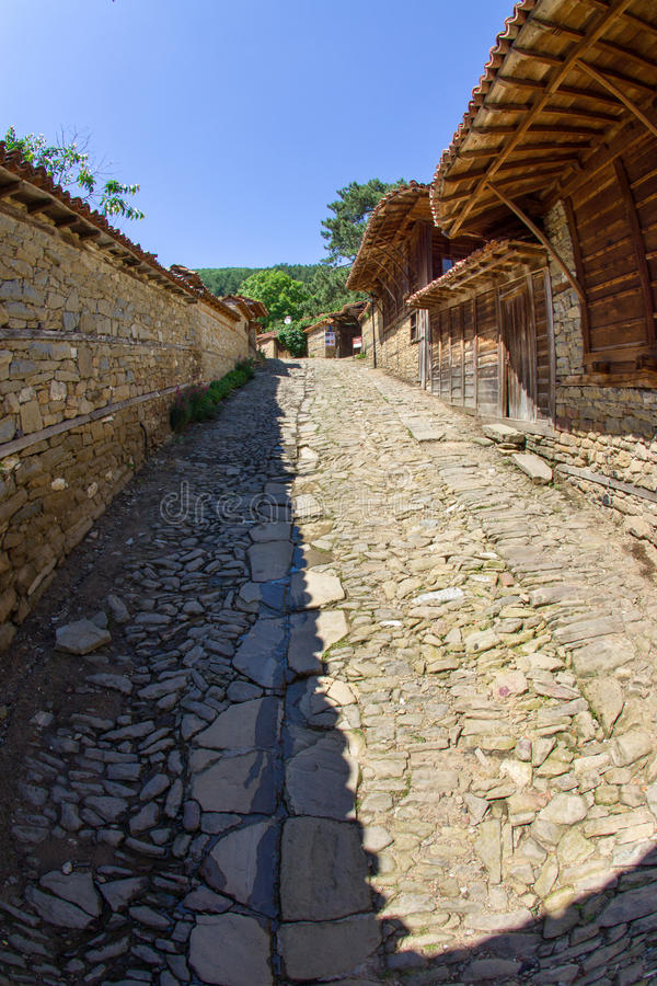 Catch basins in the Balkan mountain village stock photography