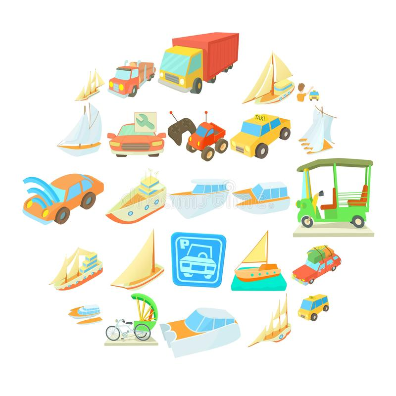 Catch the car icons set, cartoon style. Catch the car icons set. Cartoon set of 25 catch the car vector icons for web isolated on white background stock illustration