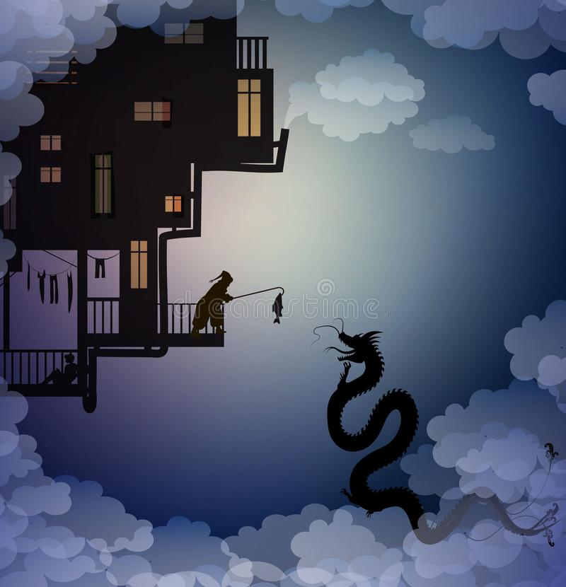 Catch the dragon on the sky, feed the dragon, scene on the dreamland, fairy scene with dragon and man, fairy silhouette,. Vector stock illustration