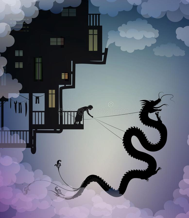 Catch the dragon on the sky, scene on the dreamland, fairy scene with dragon and man, fairy silhouette,. Vector stock illustration