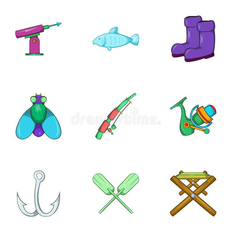 Catch fish icons set, cartoon style. Catch fish icons set. Cartoon illustration of 9 catch fish vector icons for web vector illustration