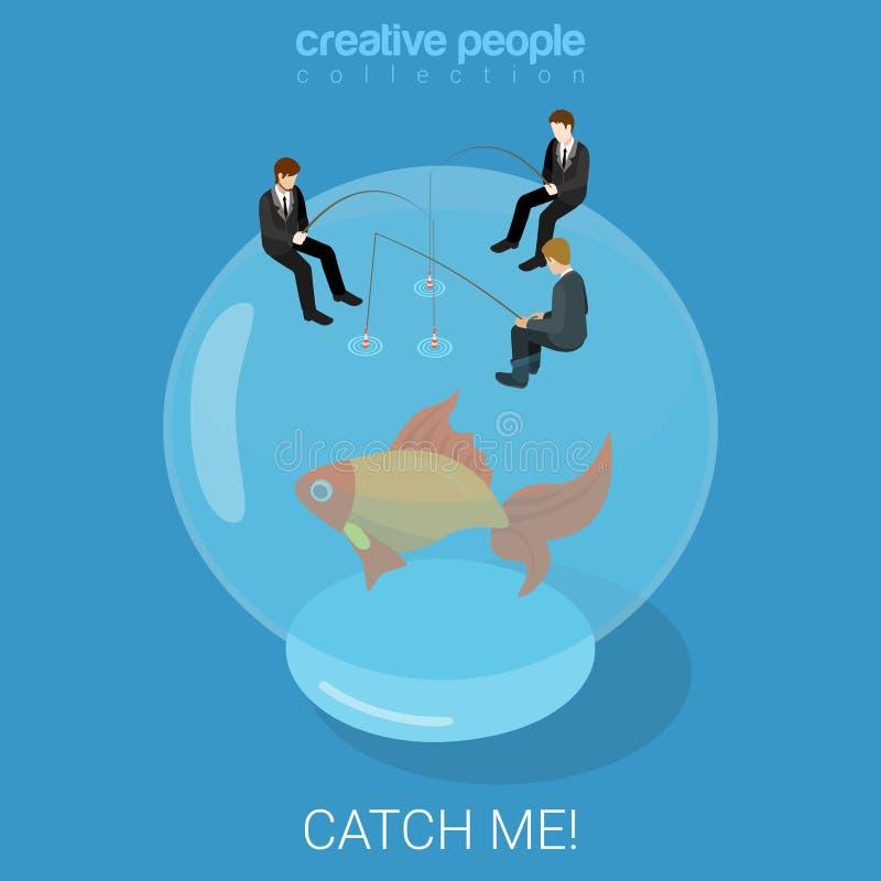 Catch goldfish fate destiny success flat isometric vector 3d vector illustration