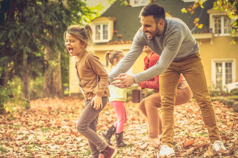 Catch me if you can. Family outdoor . royalty free stock photo