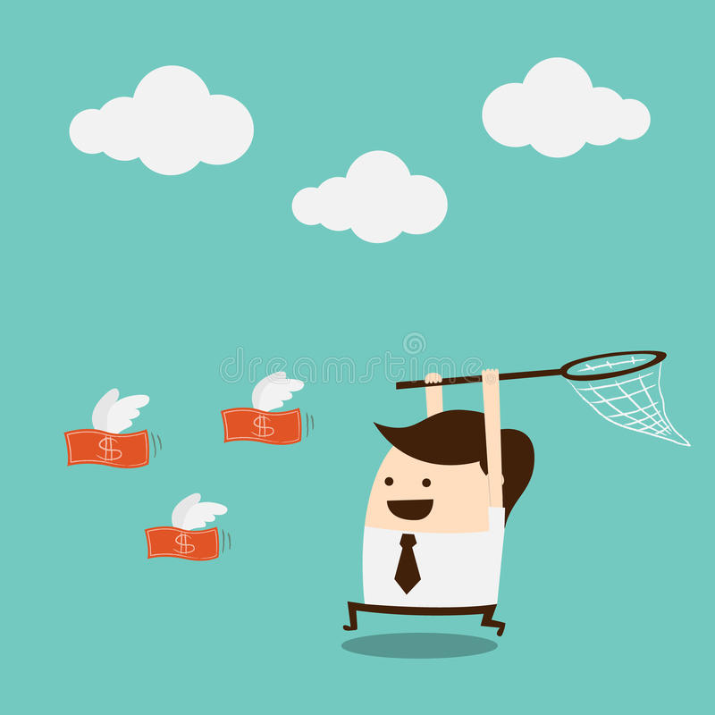 Catch the money. Businessman trying to catch money stock illustration