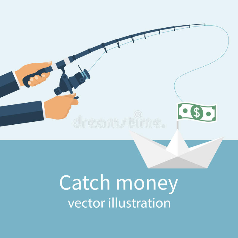 Catch money concept. Man holding a fishing rod in his hands, catching a paper boat with the money. Vector illustration flat design. Pursuit of income. Chasing royalty free illustration