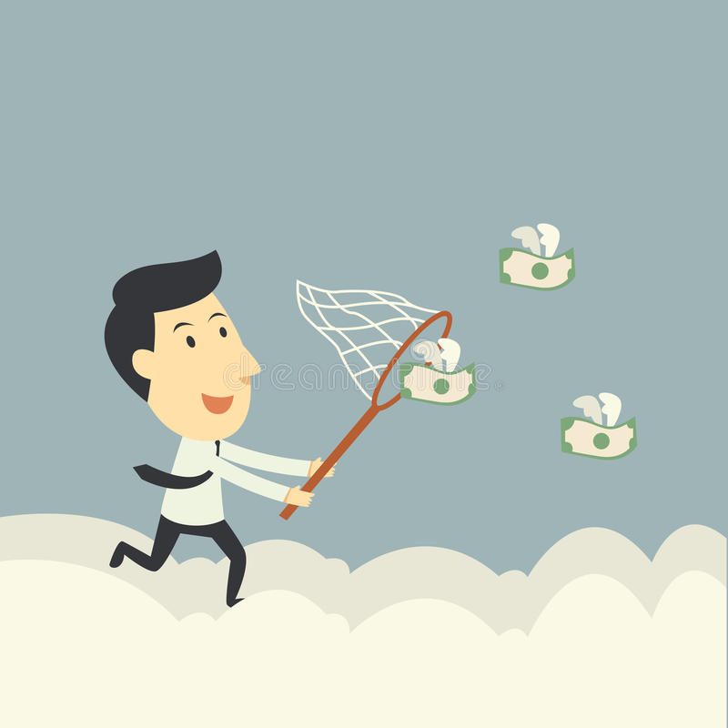 Catch money fly. Businessman trying to catch money fly stock illustration