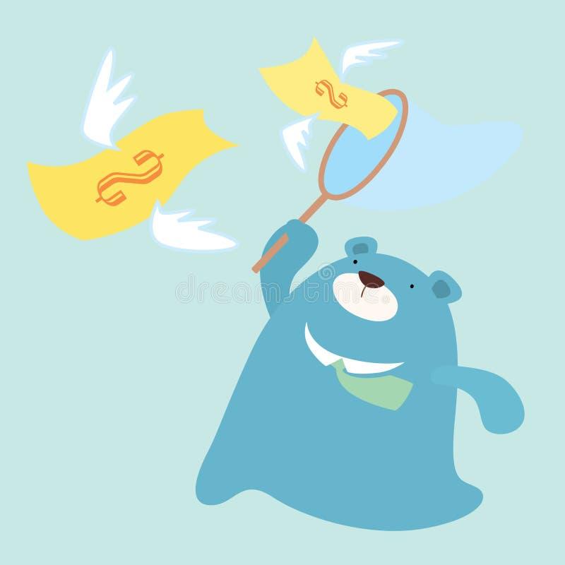 Catch money. Officer bear catch the money royalty free illustration
