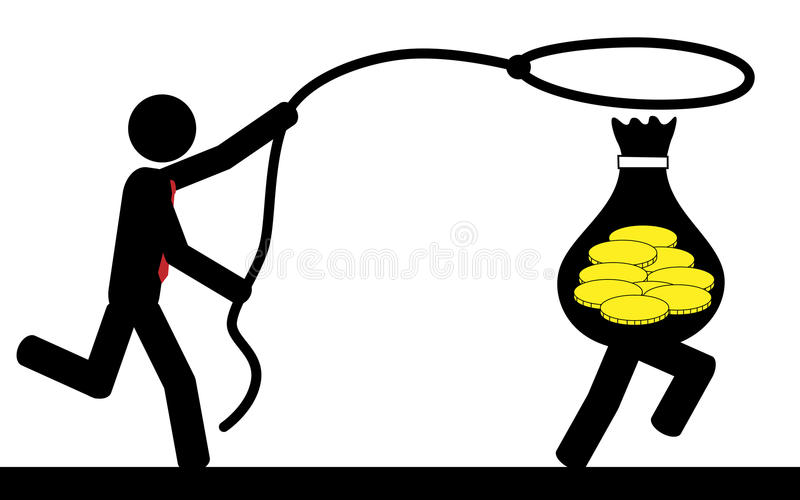 Catch money. Vector / illustration of a man that is running to catch a bag of money stock illustration