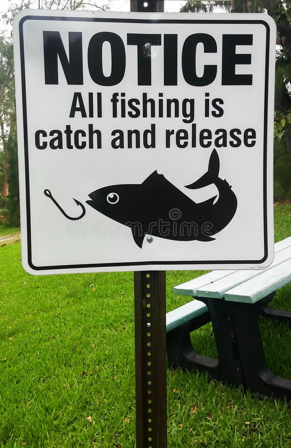 Catch and Release Notice Sign royalty free stock image