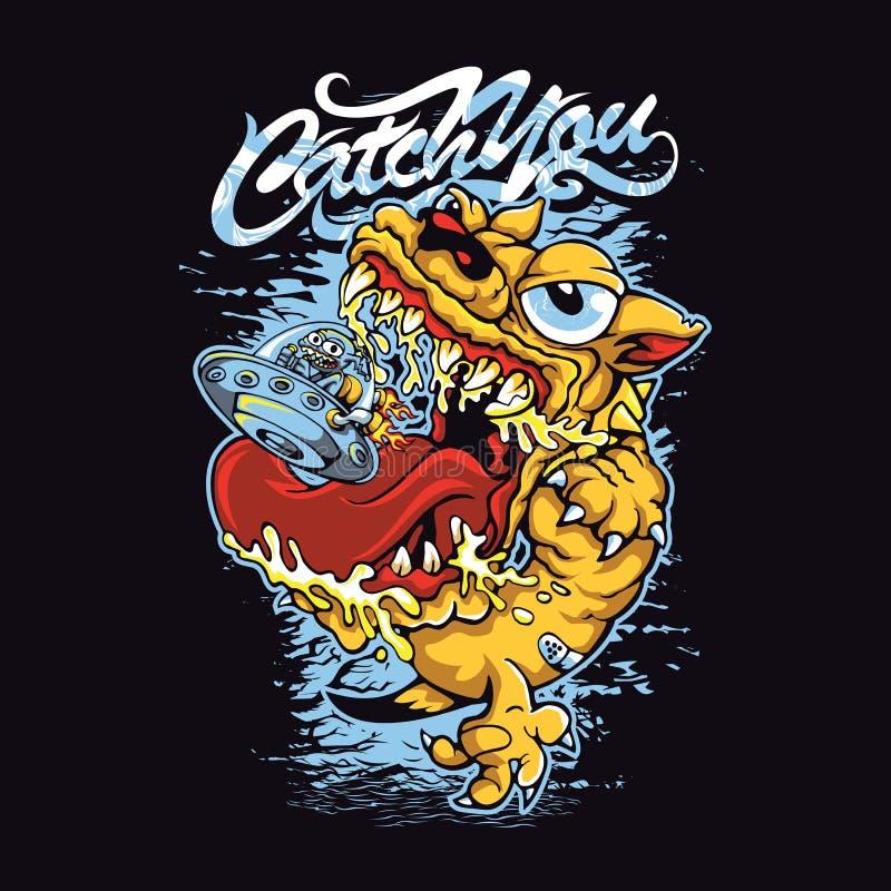 Catch. T-shirt or poster print design stock illustration