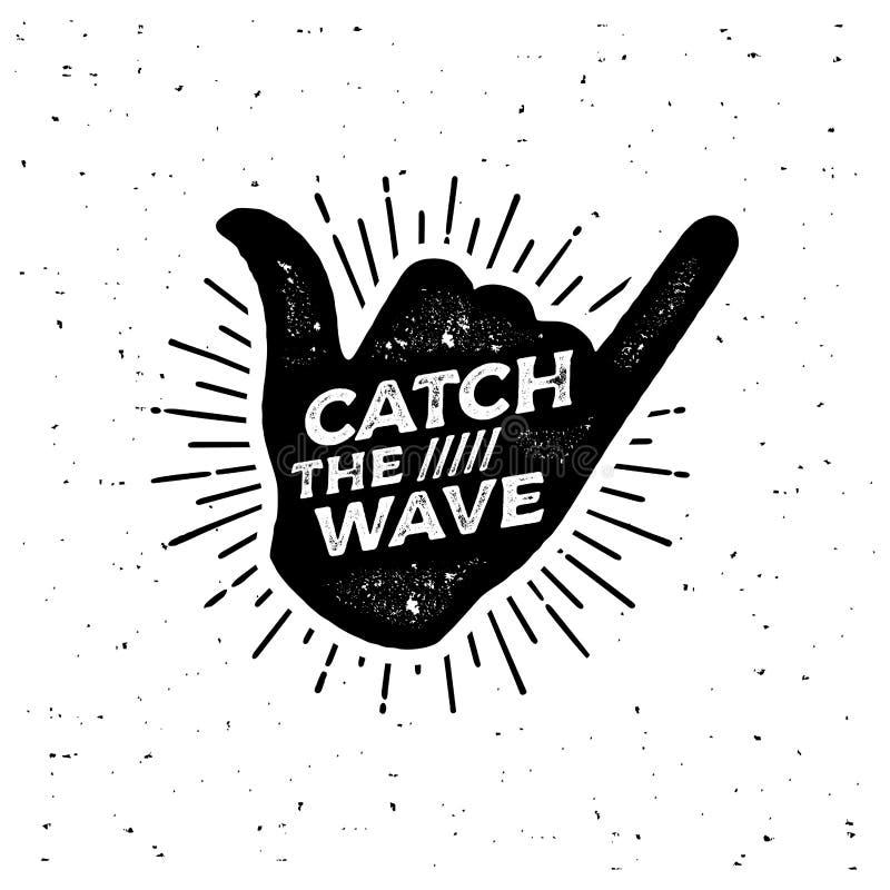 Catch the wave Black Shaka Vector illustration stock illustration