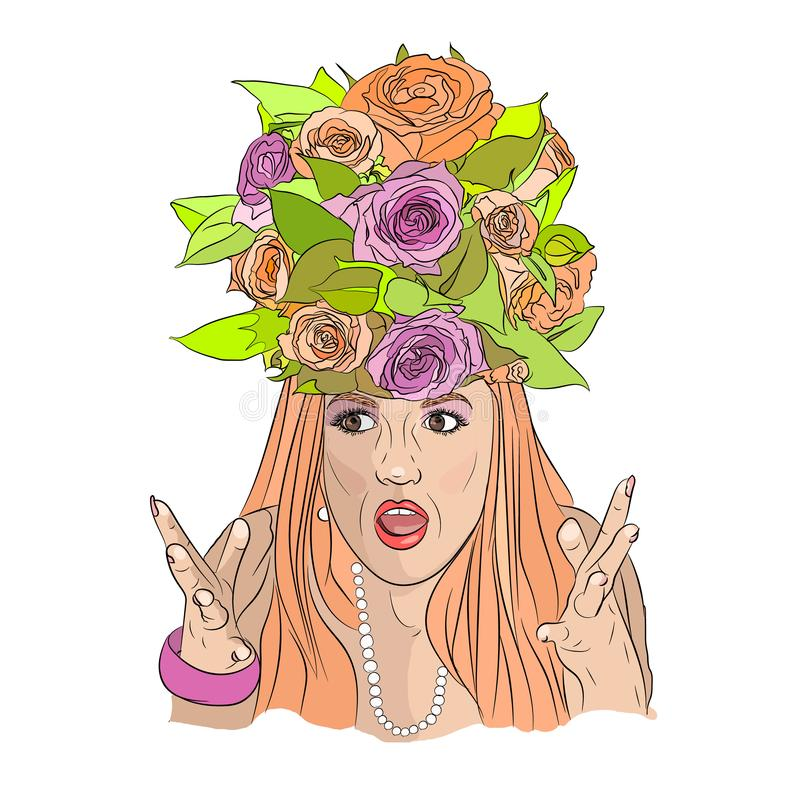 Catch a wedding bouquet at any cost. Bridesmaid. crazy wedding royalty free illustration