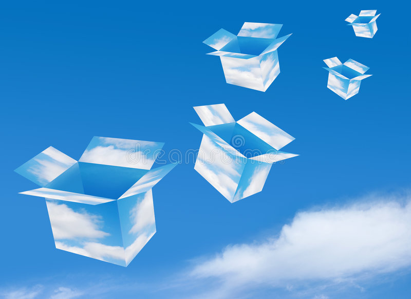 Catch Your Dream. Open boxes made of clouds fly on the sky background. Put your dreams inside stock illustration