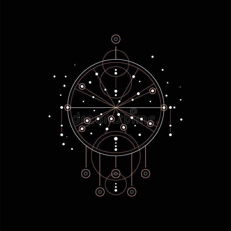 Catcher ονείρου, θρησκεία, shamanism, διανυσματική απεικόνιση συμβόλων πνευματικότητας εθνική σε ένα μαύρο υπόβαθρο ελεύθερη απεικόνιση δικαιώματος