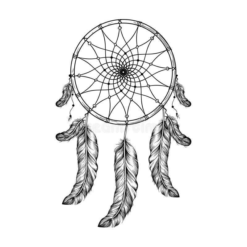 Catcher ονείρου με τα φτερά στο ύφος zentangle, υψηλό λεπτομερές ρ διανυσματική απεικόνιση