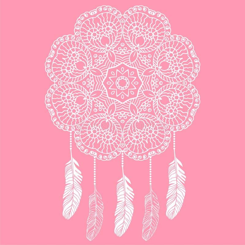 Catcher ονείρου ρομαντική μπλούζα τυπωμένων υλών boho δαντελλών, προστασία, αμερικανικοί Ινδοί, φυλακτό απεικόνιση αποθεμάτων