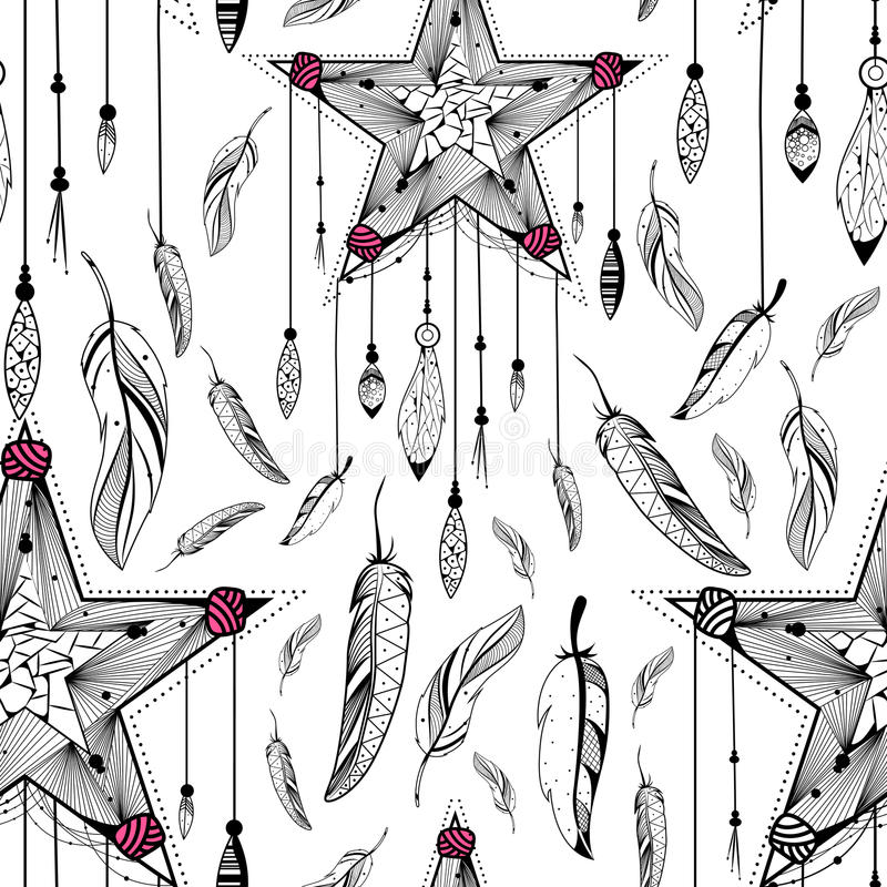 Catcher ονείρου στο φυλετικό άνευ ραφής σχέδιο ύφους boho ελεύθερη απεικόνιση δικαιώματος
