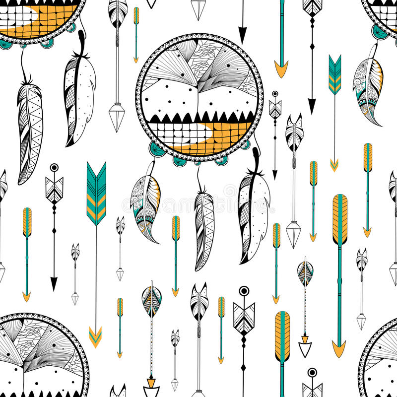 Catcher ονείρου στο φυλετικό άνευ ραφής σχέδιο ύφους boho απεικόνιση αποθεμάτων