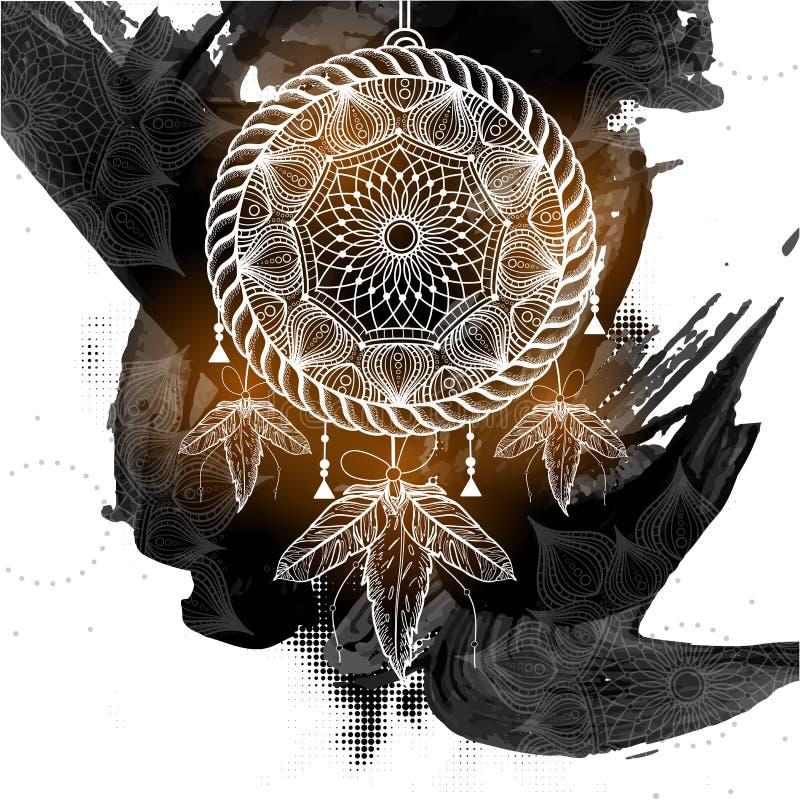 Catcher ονείρου ύφους Boho με το φυλετικό floral σχέδιο ελεύθερη απεικόνιση δικαιώματος