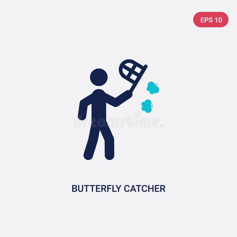 catcher πεταλούδων δύο χρώματος διανυσματικό εικονίδιο από τη δραστηριότητα και την έννοια χόμπι το απομονωμένο μπλε catcher πετα απεικόνιση αποθεμάτων