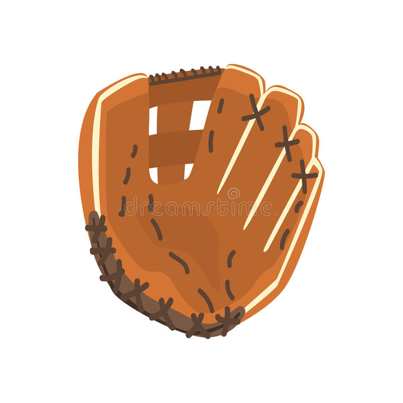 Catcher Leather Glove, Part Of Baseball Player Ammunition And Equipment Set Isolated Objects. Cartoon Realistic Sport Related Item Vector Illustration royalty free illustration